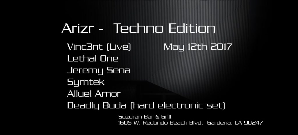 I'll be playing a hard electronic set at 9 P.M. sharp at Arizr! May 12, 2017 techno edition. For those curious to hear hard electronic on a big system, this is it!